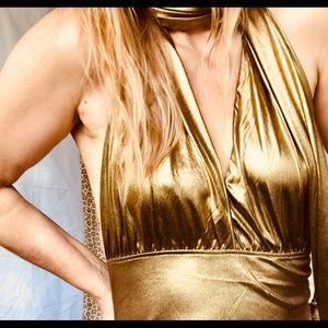 Vintage 80s gold disco party maxi gown. Size 6